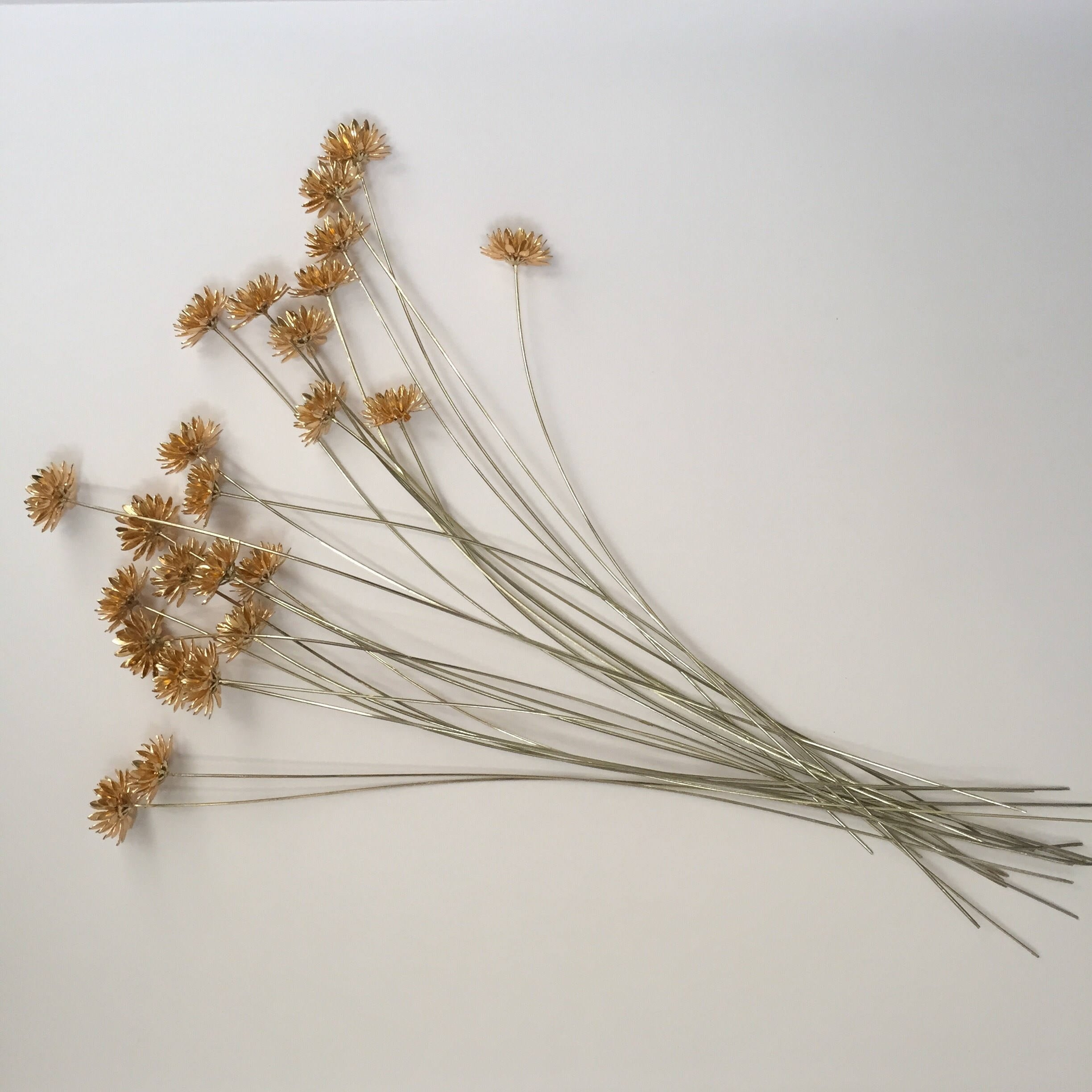 24 Small vintage metal yellow gold flowers with wire stem; floral ...
