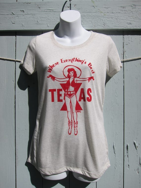 Where Everything's Best, Retro Texas Cowgirl T-Shirt - Women's Slim Fit