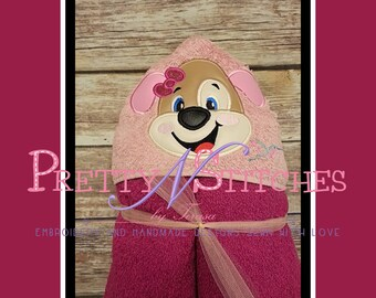 Digital Download Girl Puppy Applique Embroidery Design for 5X7 Hoop includes 2D and 3D