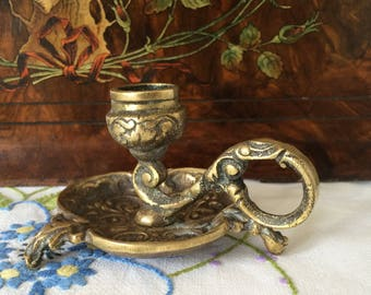 Vintage Brass Candleholder Art Nouveau Style Candle Stick Holder/Chamber Candle.
