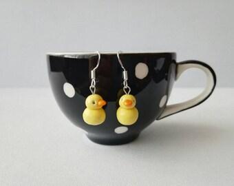Duck earrings, yellow duck ceramic earrings, sterling silver