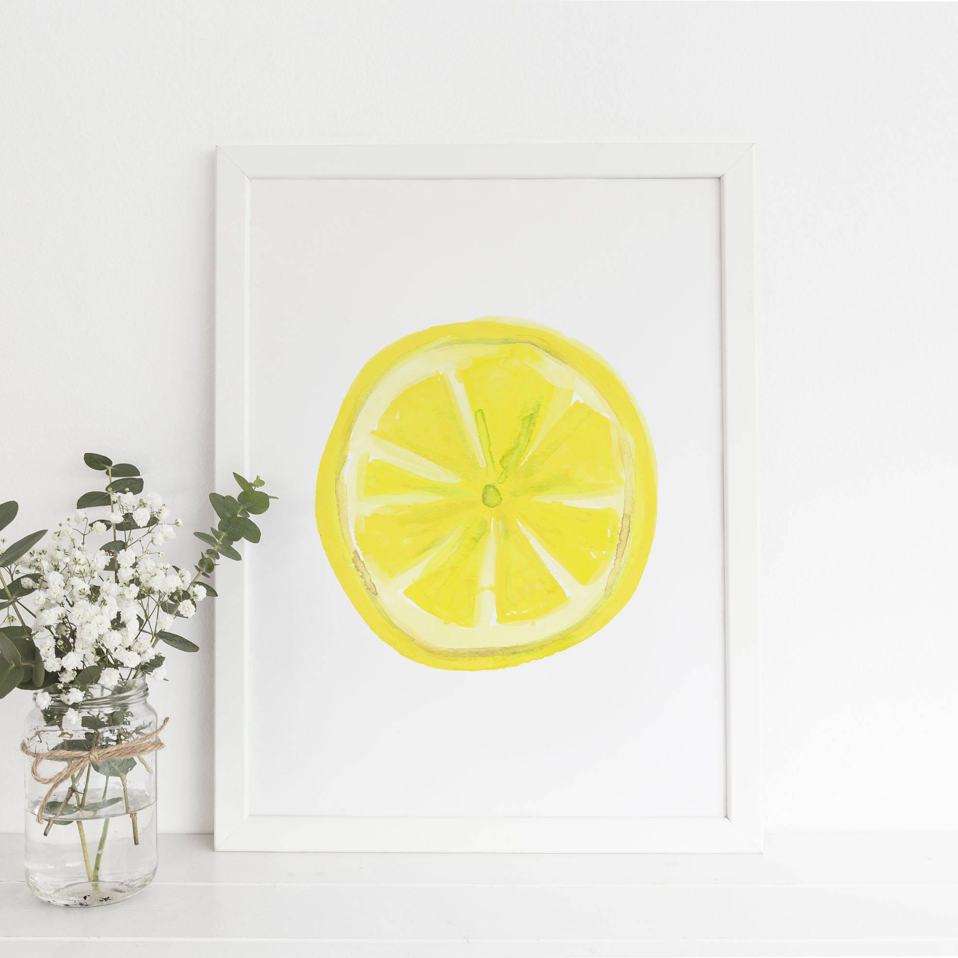 Kitchen Print Lemon Slice Art Lemon Print Lemon Wall Art