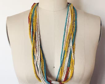 Vintage Multistrand African Beaded Necklace