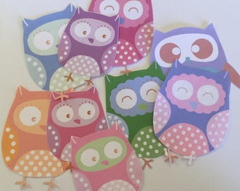 Paper birds, large paper owls, embellishment cut outs, cute owls, set of 9, scrapbooking, card making, journalling, hand cut, baby shower
