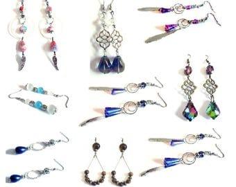 Vintage Lot of 9 pairs of earrings