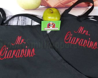 "Personalized Embroidered Couple's Gift Mr & Mrs Apron Set. Customized 24""L x 28""W professional 3 pocket full bib. His can be longer!!!"