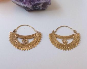 Brass Earrings. Half Moon earrings. Ethnic earrings. Hoop earrings. Boho Earrings. Indian earrings.