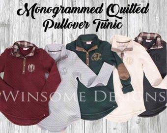 Monogram Pullover-Monogram Tunic-Monogram Fleece-Monogram Half Zip-Preppy Monogram Half Zip-Pullover With Monogram-Monogram Sweatshirt