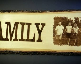 Laser Engraved Wood Plank, Family Sign,Christmas Gift, Your Photo Engraved Onto Wood, Custom Plaque, Anniversary Gift, Personalized Keepsake