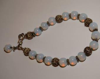 Vge Sterling Silver Iridescent Opalite Beaded Bracelet.