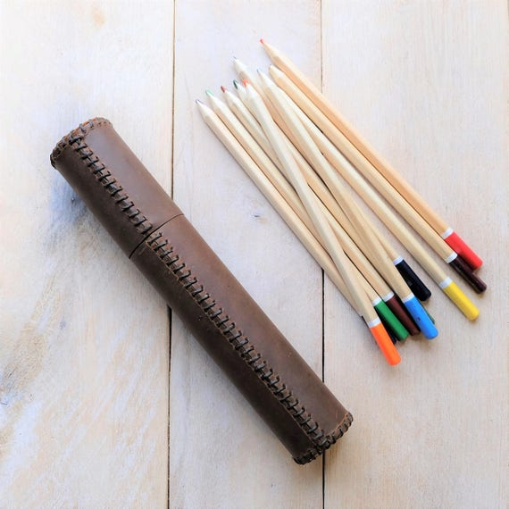 """Leather Artist's Tube - Medium - 13 1/2"""" x 2"""" - Brushes, Watercolor Brushes, Rulers"""