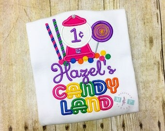 Girls Candyland Birthday Shirt or bodysuit - Candy birthday - candy land - gumball machine - lollipop