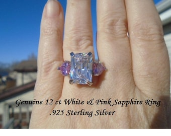 12 ct White & Pink Sapphire Ring Size 8
