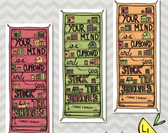 LDS Bookmarks, Cupboard Quote, Cute Bookmarks, Lime Red and Orange, Thomas S. Monson, lds bookmarks, lds handouts, LDS gifts, LDS prints