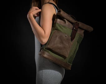 Canvas and leather backpack Roll top backpack by Kruk Garage Women's canvas backpack Personalized gift Christmas gift FREE PERSONALIZATION