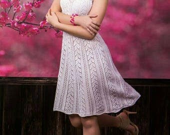 White summer's cotton hand knitted dress, lace dress, without sleeves dress