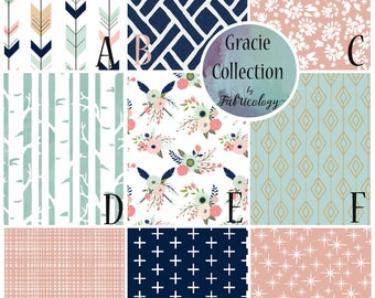 Fabric Sample / Fabric Swatch / Fabric Matching / Gracie Collection by Fabricology / Baby Girl Nursery