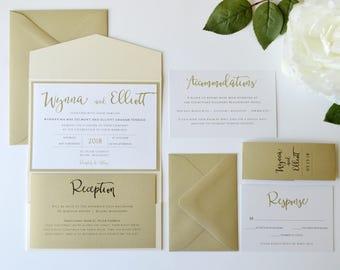 Gold Wedding Invitation, Neutral Wedding Invitations, Gold and Ivory Wedding Invitations, Shimmer Pocket Wedding Invitations, Pocketfold