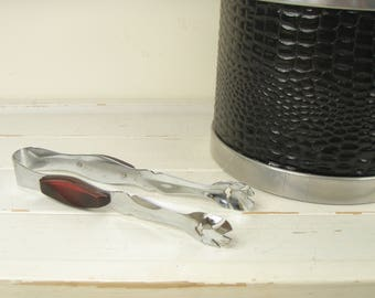 Vintage Mid Century Glo Hill Barmates Chrome Ice Tongs w/ Ruby Red Bakelite Grips - Made in Canada