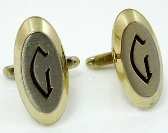 Letter G Initial Cufflinks Vintage Hickok Two Tone Oval Sleek