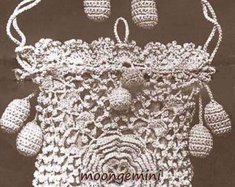 Crochet Purse Irish Rose Opera Bag Vintage Pattern PDF