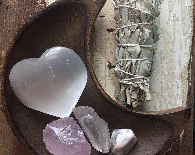 Heart Wide Open Gemstone Set | Spiritual Junkies | Reiki Love Infused Selenite Heart, Quartz Crystal, Rose Quartz, Pink Agate + Sage | Altar
