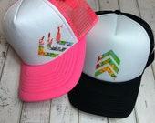 Summer hat, womens hat, ariebdesigns, arieb, arieb hat, arie hat, trucker hat, floral hat, chevron hat, beach hat, beach fashion