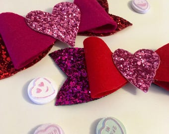 Valentine's Bow - Valentine's Day - Hair Bow - Heart - Sparkles