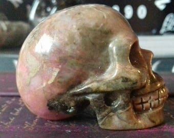 Rhodonite Hand Carved Crystal Skull - Crystal Healing, Rhodonite Skull, Crystal Carving, Crystal Skull, Skull Carving, Crystal Energy  RH5
