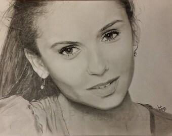 """Pencil portrait of Nina Dobrev """"The Vampire Diaries"""""""