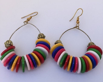 Hand made Bangladesh colored button earrings.