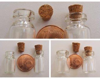 4 mini Fioles en verre avec bouchons liège mod au choix