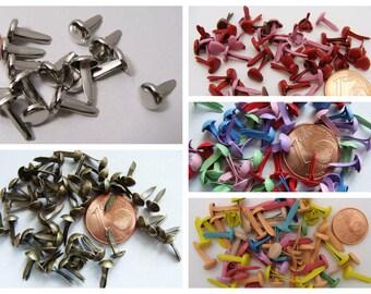 50 BRADS ATTACHES PARISIENNES métal mix couleurs ou unies au choix