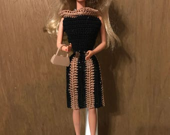 Handmade Crocheted Barbie Dress and Hat with shoes-Beige and Black