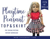 """Doll Clothes Sewing Pattern fits 18"""" dolls like American Girl -  Playtime Peasant Top and Twirl Skirt PDF pattern Oh Sew Kat! doll clothes"""