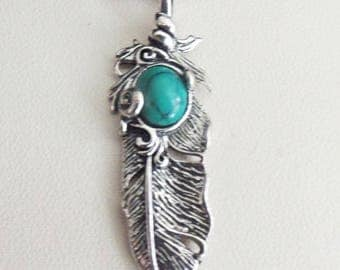 Feather pendant and turquoise stone