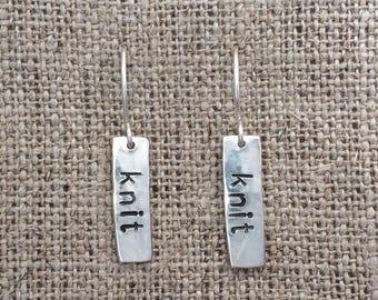 knit dangle earrings - sterling silver