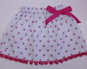 SALE! Pretty blue daisy skirt with pom pom trim & bow for girl 3yrs