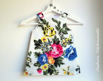 """FANNY"" 6-36 months scalable, flowers, white, multicolored, cotton dress"