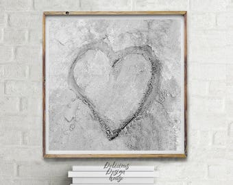 Beachhouse Bathroom Decor Heart Printable Sand Art Print / Love Printable Art Coastal Wall Decor Large Heart Print / Large Beach wall art