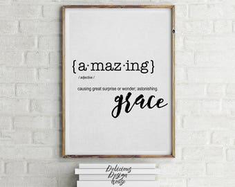 Amazing Grace Print Black and White / Printable Art / Printable Scripture Print / Farmhouse Style Printable / Farmhouse Printables Art Print