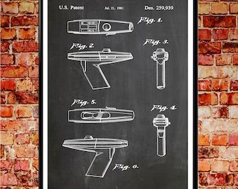 Star Trek Gun Poster Star Trek Poster Star Trek Wall Art Star Trek Prints Captain Kirk Art Klingon Art Klingon Posters (WB111)