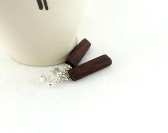 Wooden earrings, little rectangular earrings in fairtrade rosewood