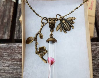 Dried flower necklace, pink flower necklace, romantic necklace