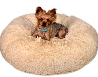CUDDLY CAMEL SHAG:  Ultra Plush Soft Shag Cuddle Pet Bed, Dog Bed, Cat Bed, Pet Furniture for Dog or Cat, Small and Medium Pet Bed