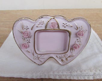 Vintage Heart Picture Frame Small Pink Porcelain with Flowers