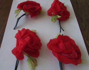 4 Vintage Red  Fabric Flower Corsage Pin Millinery