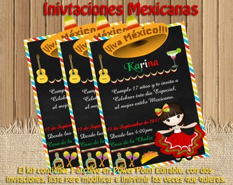 Mexican editable printable birthday invitations doll