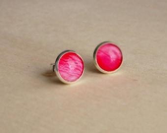 Sale Pink stud earrings Tiny Ear posts  Glass dome earrings Rose earrings Vintage earrings Pink rose earrings Flower jewelry Rose stud earri