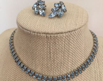 Gorgeous 1950's Light Blue Rhinestone Double Strand Prong-Set Choker Necklace with Marquis Cut Prong-Set Rhinestone Clip Earrings